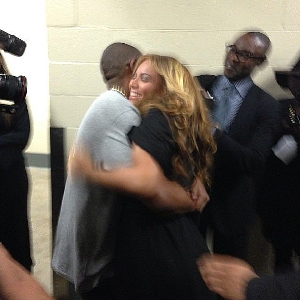 Jay Z hugged his wife, Beyoncé, after her Super Bowl halftime performance in February 2013. Source: Instagram user joannasimkin