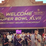 Josh Henderson sipped on a drink outside of the Superdome. Source: Instagram user joshhendu