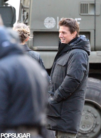 Tom Cruise smiled on the set of All You Need Is Kill  in London.