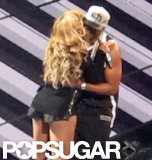 Beyoncé gave Jay Z a kiss after the couple performed together at his new Barclays Center in New York's Brooklyn borough in October 2012.