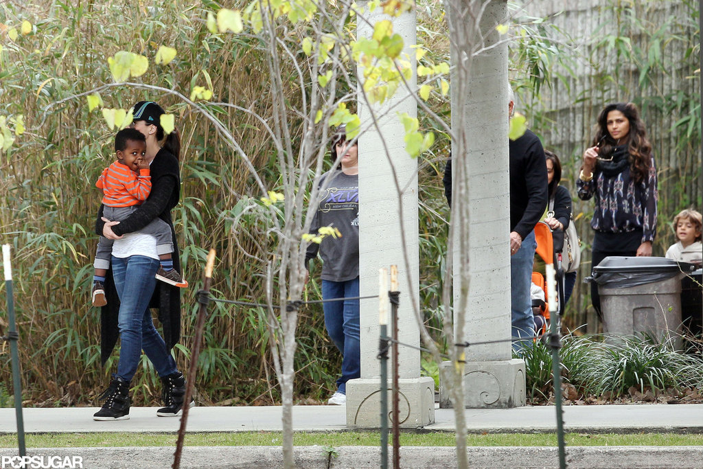 Sandra Bullock and Camila Alves brought their kids to the Audubon Zoo in New Orleans, LA.