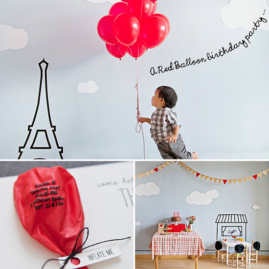 A Parisian Red-Balloon First Birthday Party