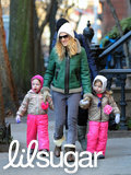 Sarah Jessica Parker and her twin daughters, Tabitha and Marion, layered up to keep warm in chilly NYC.