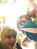 Rebel Wilson scored some balloons on the set of Super Fun Night. Source: Twitter user RebelWilson