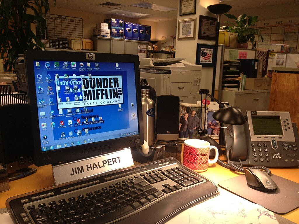 John Krasinski showed us what the view is like from Jim Halpert's desk. Source: Twitter user johnkrasinski