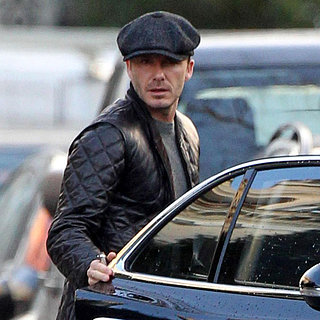 David Beckham Wearing a Leather Jacket in London