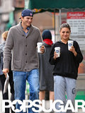 Ashton Kutcher and Mila Kunis kept it casual during a coffee run in NYC in October 2012.