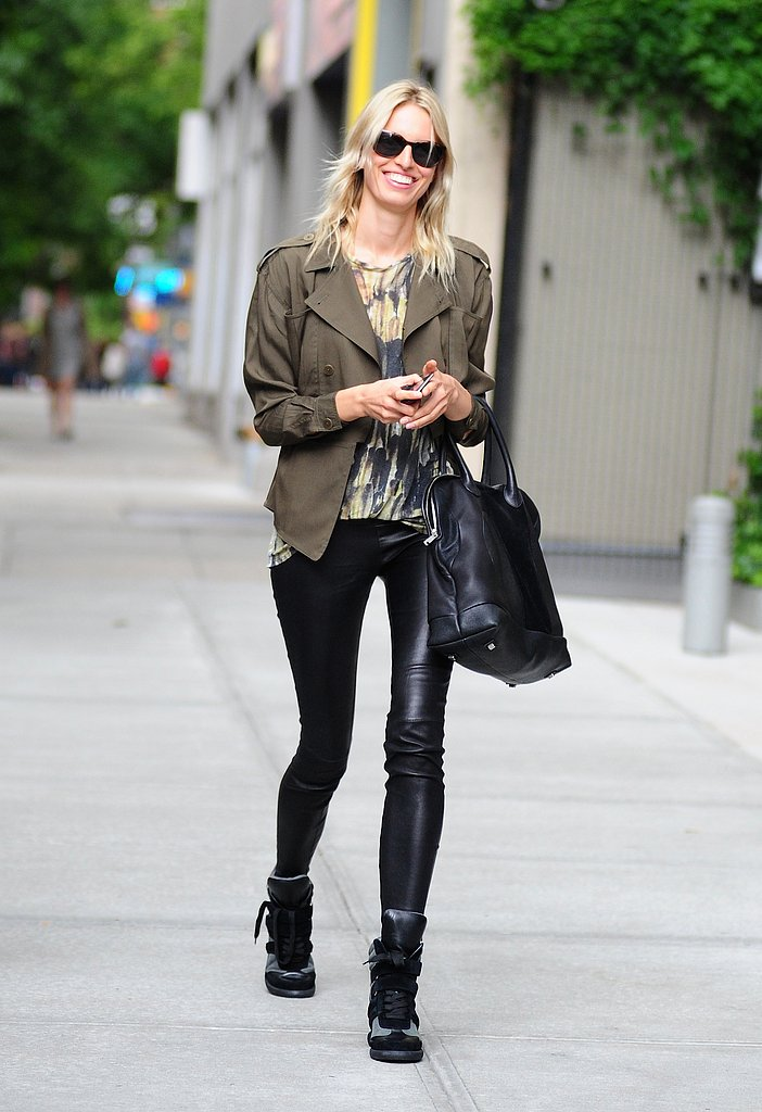 Karolina Kurkova's cropped anorak provided the perfect finish to her printed tee, black leather pants, and Monika Chiang sneakers.