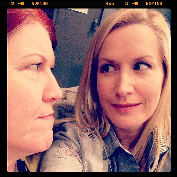 Angela Kinsey and Kate Flannery eyed each other on the set of The Office. Source: Instagram user angelakinsey