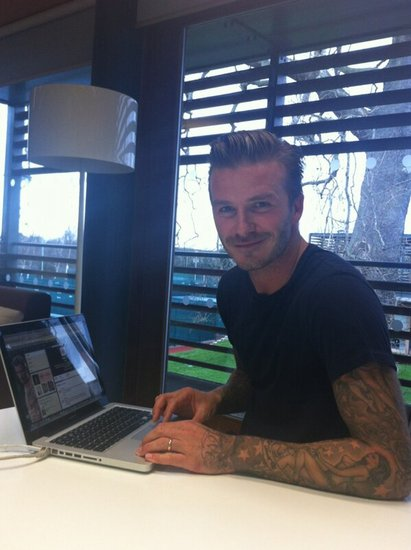 David Beckham answered fans' questions from H&M's Twitter account. Source: Twitter user hm