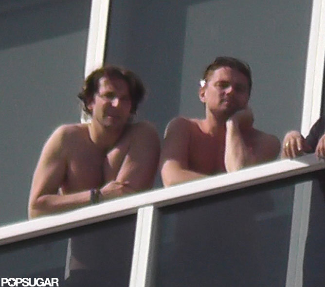 Bradley Cooper and Leonardo DiCaprio hung out shirtless in Miami.  Source: Coleman-Raynor