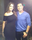 Sofia Vergara posed with Mario Lopez after he interviewed her for Extra. Source: Twitter user MarioLopezExtra