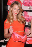 Candice Swanepoel showed off a bra for Victoria's Secret's Valentine's Day event in NYC.