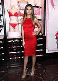 Lily Aldridge wore a red dress for a Valentines's Day event at Victoria's Secret in Herald Square.