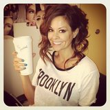 Brooke Burke-Charvet enjoyed her morning coffee while getting her hair and makeup done. Source: Twitter user brookeburke