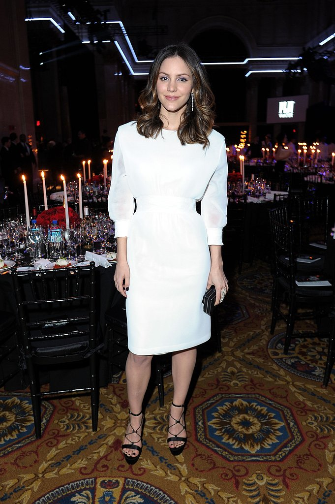 Katharine McPhee attended the amfAR New York Gala in a white Theyskens' Theory number.