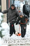 In January 2011, Hugh Jackman and his son, Oscar, took their puppy for a walk after a snowstorm in NYC.