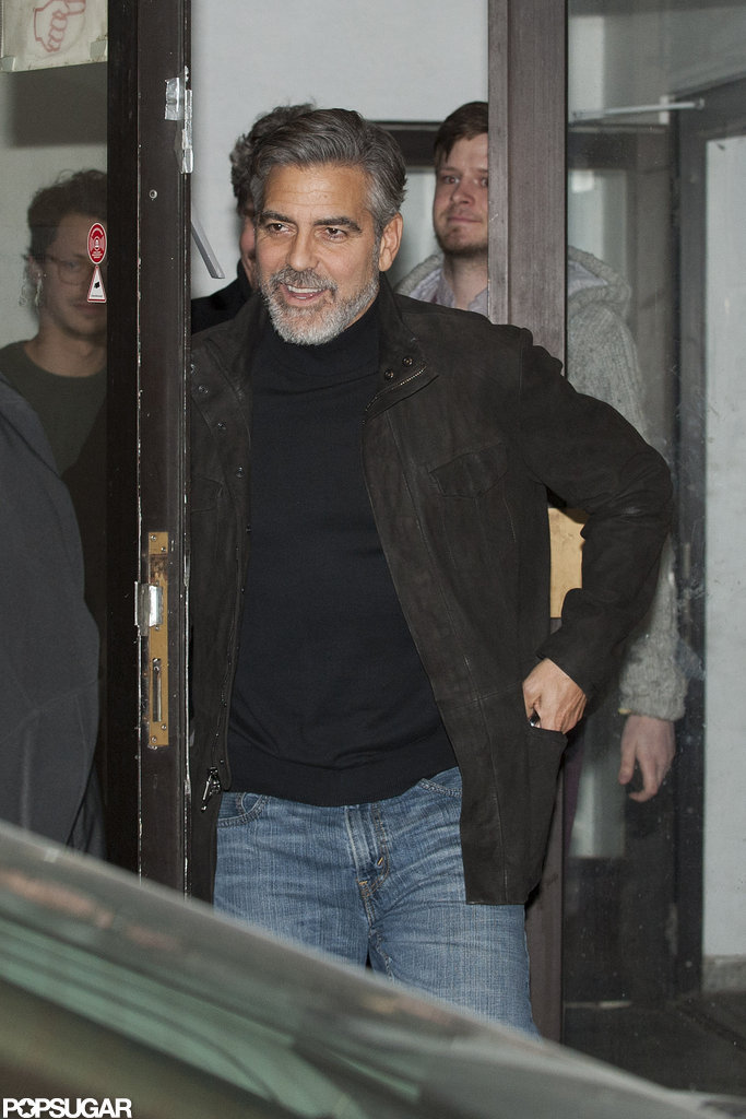 George Clooney left a restaurant in Berlin.