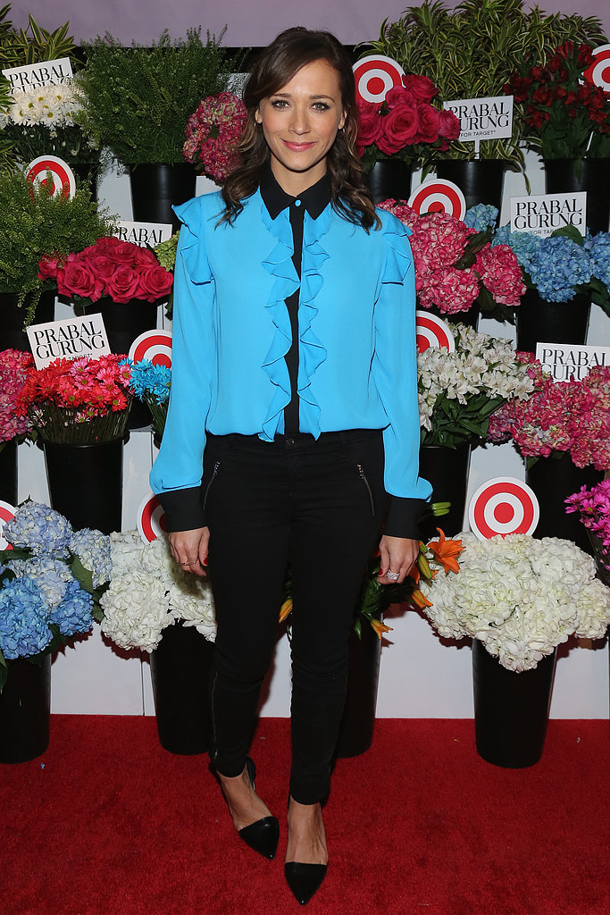 Rashida Jones paired her frilled shirt with black pants for Wednesday's Prabal Gurung For Target launch in NYC.