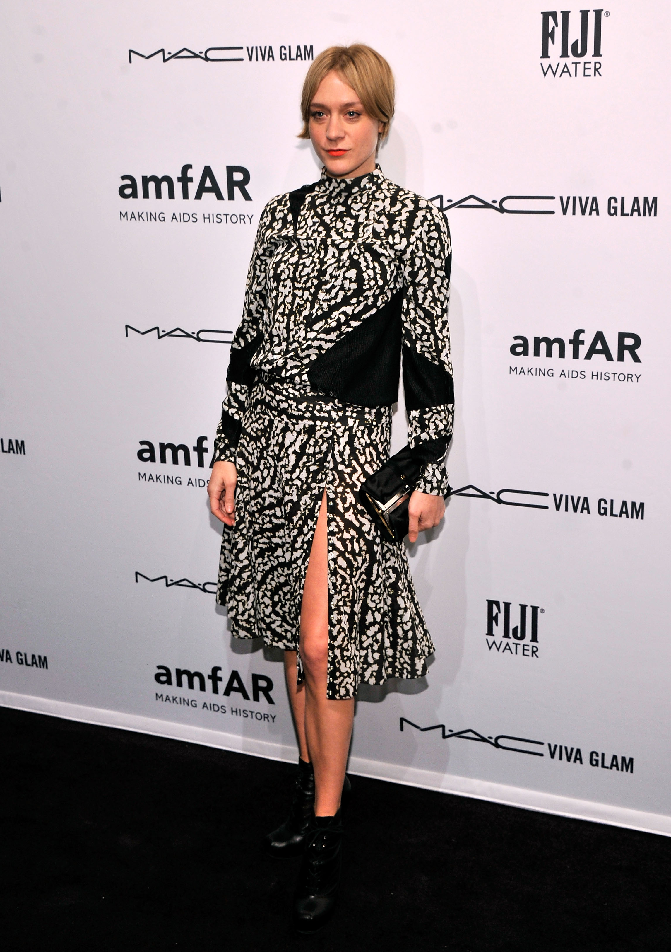Chloë Sevigny wore a black and white dress to the amfAR New York Gala on Wednesday.