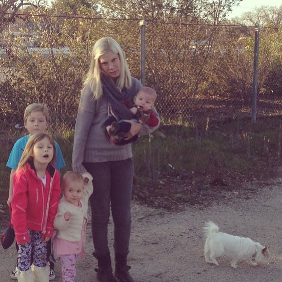Tori Spelling didn't look too pleased about her car breaking down while on a road trip with all four kids. Source: Instagram user torianddean