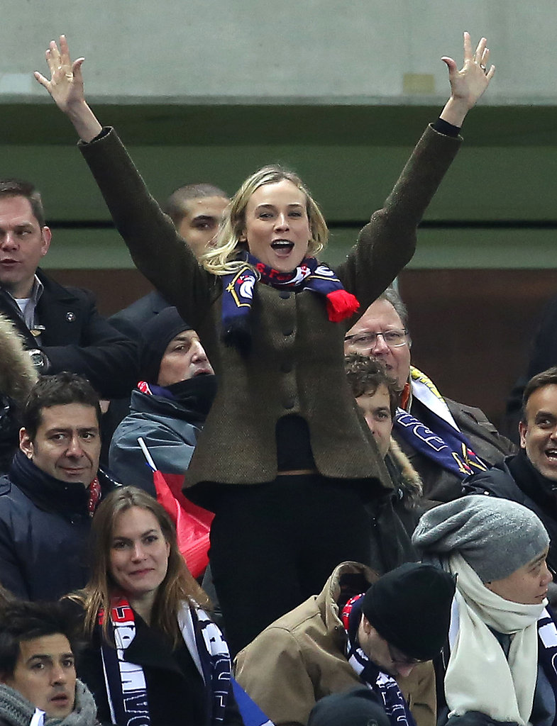 Diane Kruger showed her excitement in the stands at a soccer game in Paris.