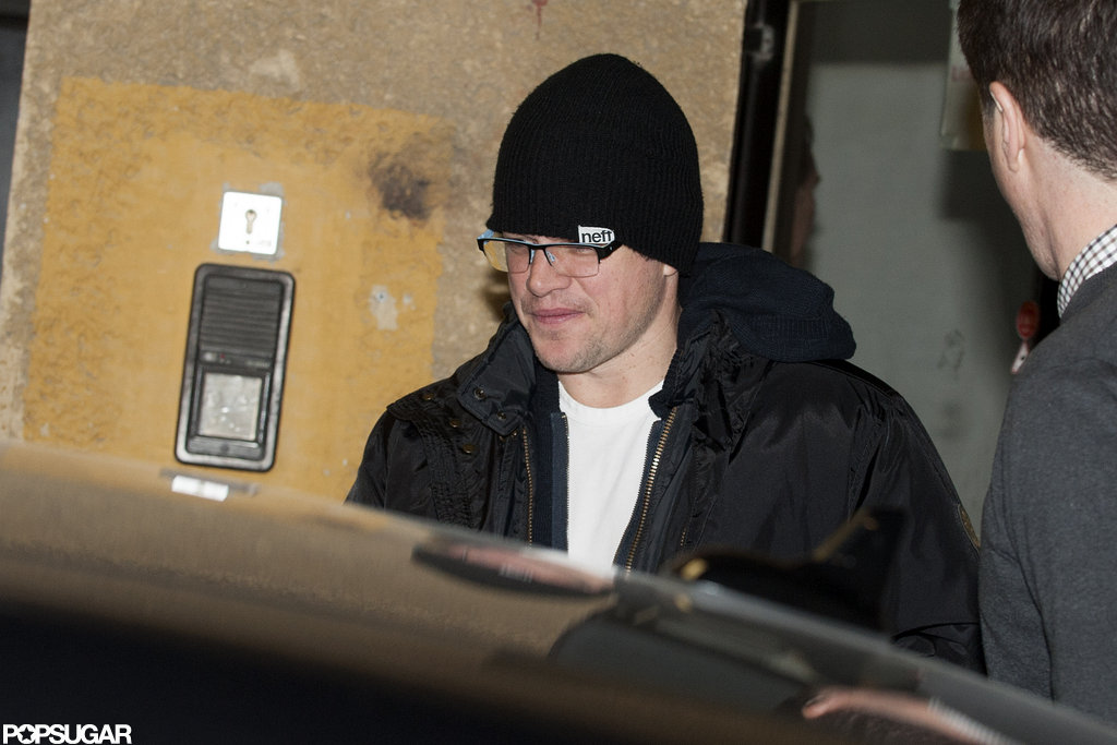 Matt Damon went into a car after getting dinner with George Clooney.