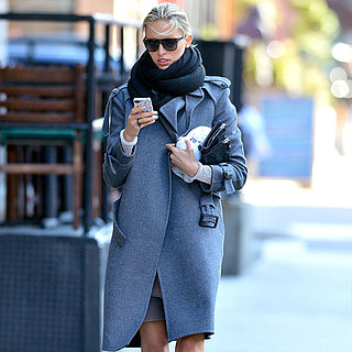 Karolina Kurkova Wearing Gray Coat