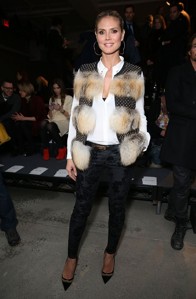 From her fur and studded vest to her floral brocade bottoms, we love everything about Heidi Klum's front row Kenneth Cole style.