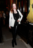 For Dannijo's presentation, Coco Rocha paired a black and white tuxedo blazer with high-shine crocodile-embossed pants.