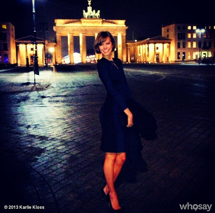 Karlie Kloss showed off her black dress in Berlin. Source: Karlie Kloss on WhoSay