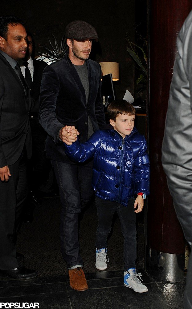 David Takes a Trench-Wearing Romeo to Dinner With Brooklyn and Cruz