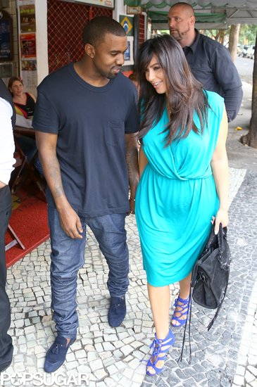 Kim Kardashian and Kanye West grabbed lunch in Rio.