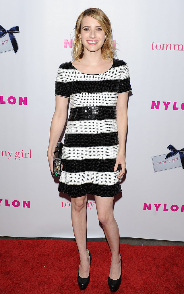 Emma channeled a '60s-cool Edie Sedgwick in a black-and-white-striped Rachel Zoe dress at a Nylon magazine party in May 2012.