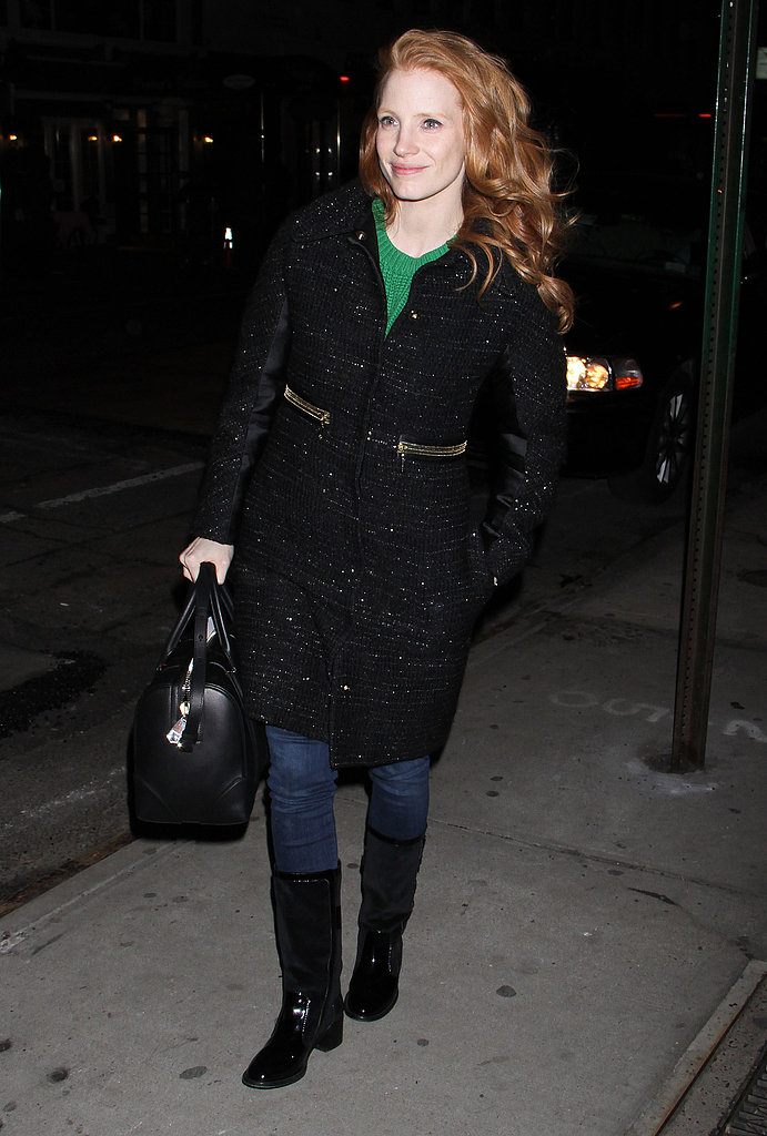 Jessica Chastain got cozy with a green Michael Michael Kors sweater, a fabulous tweed coat, and black boots while out and about in NYC.