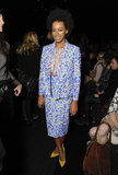 During New York Fashion Week Fall 2013, Solange Knowles showed her support for Diane von Furstenberg in a floral periwinkle blazer and matching pencil skirt by the designer. She paired her print with an orange-and-gray blouse and pointed yellow pumps.