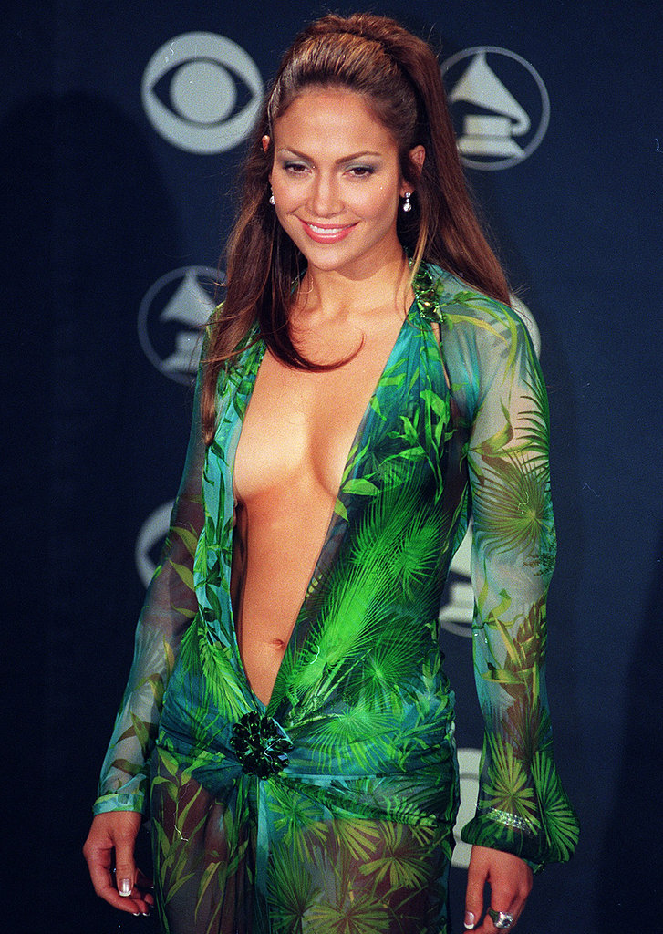 """The green Versace dress Jennifer Lopez wore to the 2000 Grammys, which has its own Wikipedia page, revealed lots of """"puffy"""" bare skin."""