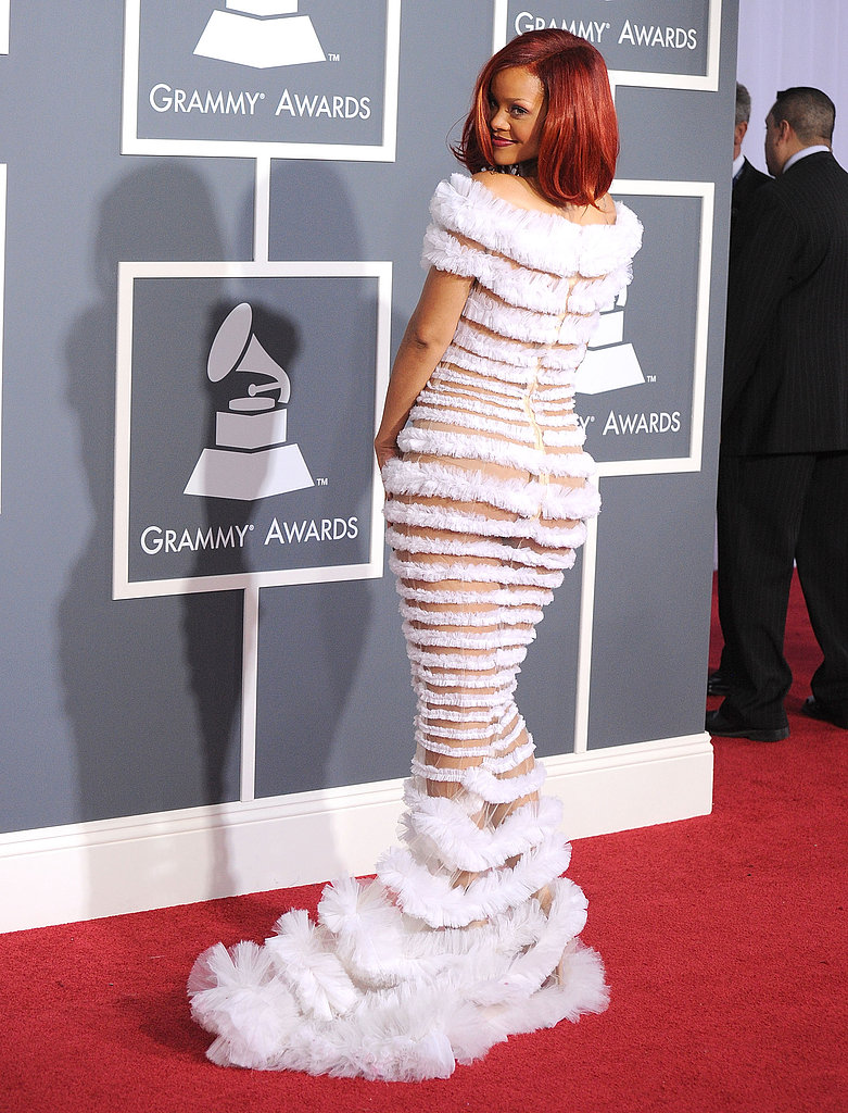 Rihanna flashed some skin on the 2011 Grammy red carpet.
