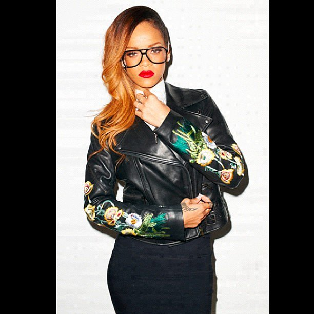 Rihanna and her red lips struck a pose for fashion photographer Terry Richardson. Source: Instagram user badgalriri