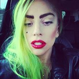Lady Gaga didn't spare the makeup when she spent the day travelling. Source: Instagram user ladygaga