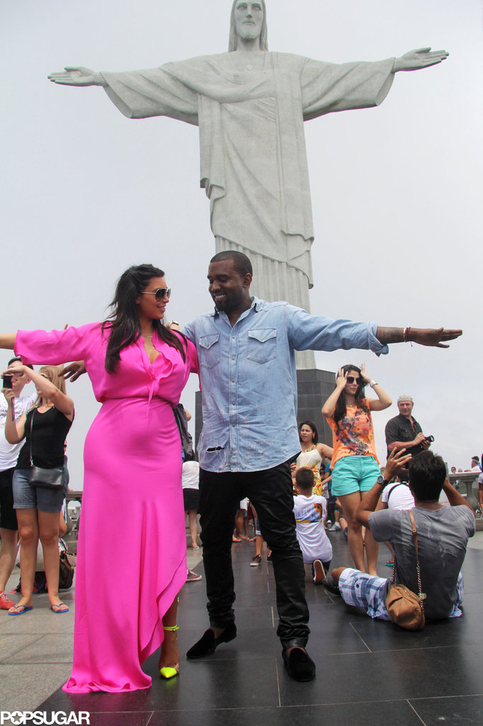 Kim Kardashian and Kanye West couldn't keep their eyes off each other as they posed for a photo at the Christ the Redeemer statue while vacationing in Rio de Janiero in February.