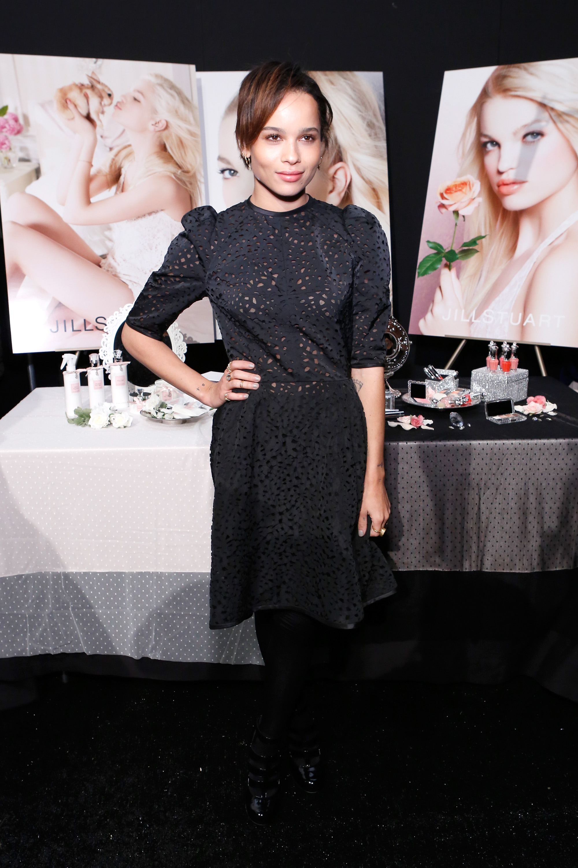 Zoe Kravitz hung out backstage at the Jill Stuart show Saturday.