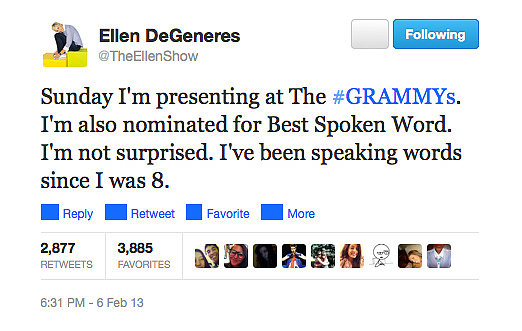 Somehow, we don't think Ellen's ever had trouble with the spoken word!