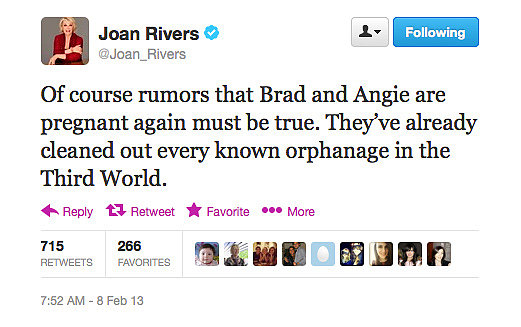 Joan Rivers has a little dig at the latest Brangelina rumours.