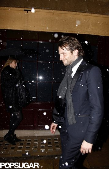 Bradley Cooper stayed warm with a scarf.