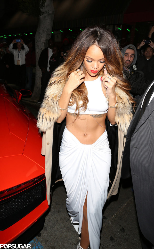 Rihanna wore a white outfit for a Grammys afterparty.