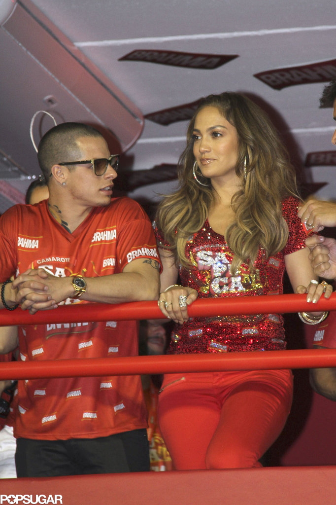 Jennifer Lopez and boyfriend Casper Smart hung out in the Brahma VIP box while watching the world famous Carnival festival in Rio de Janeiro in 2012.