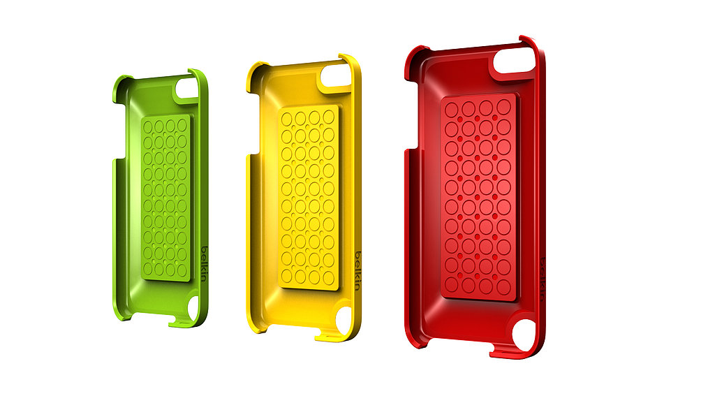 The iPod Touch can easily be snapped into the Belkin/Lego case.