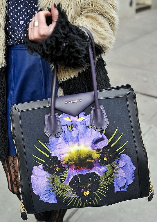 Spotted: Givenchy's covetable floral satchel on the arms of a lucky Fashion Week attendee.