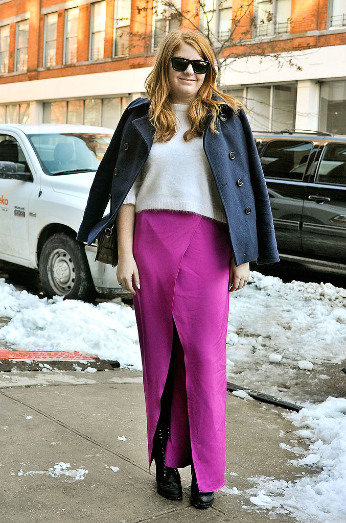 Here's one way to brighten your look in a flash — with the most gorgeous hue on a full-length skirt. Just winterize with tights and a cozy knit up top.